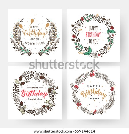 Happy birthday invitation card floral border stock vector royalty happy birthday and invitation card with floral border brush calligraphy vector illustration filmwisefo