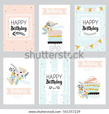 Happy Birthday Invitation Card Golden Sparkle Stock Vektorgrafik