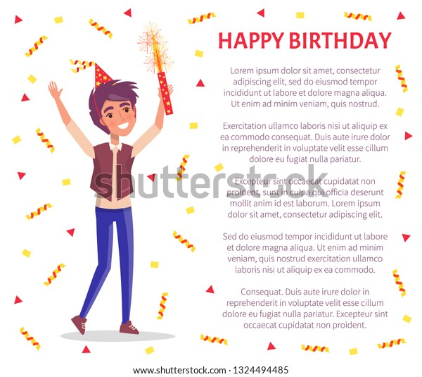 Happy Birthday Invitation Card Man Firework Stock Vector