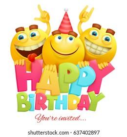 Happy birthday invitation card template with three emoji characters. Vector illustration