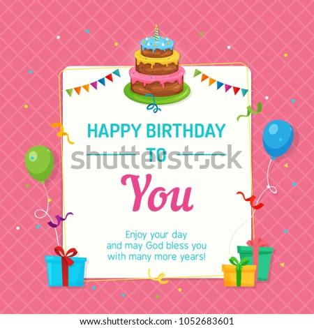 Happy Birthday Invitation Card Template Birthday Stock Vector