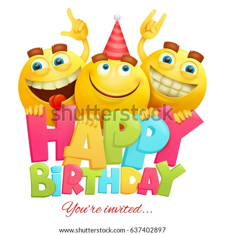 Happy Birthday Invitation Card Template Three Image Vectorielle De
