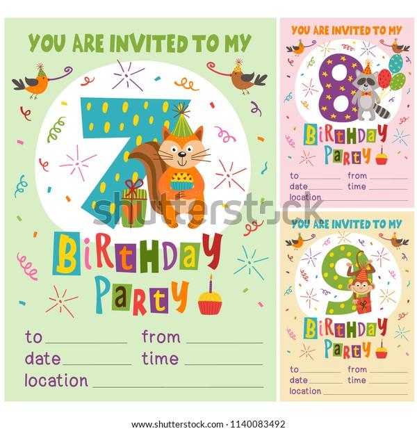 Happy Birthday Invitation Card Template Funny Stock Vector