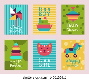 Happy birthday invitation card T-shirt print baby shower vector illustration. Kid announcement motherhood greeting event poster. Babyshower new born congratulation postcard.
