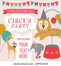 Happy Birthday invitation for circus party. Circus poster. Vector illustration