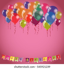 Happy Birthday invitation or congratulation card template. Place for name and text on pink background. Vector illustration with colorful air balloons and letters garland.