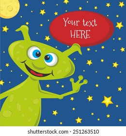 Happy birthday invitation cute alien card