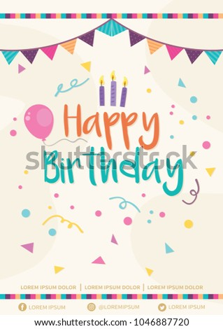 Happy Birthday Invitation Flyer Vector Illustration