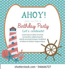 Happy birthday invitation greeting card template stock vector 2018 happy birthday invitation or greeting card template with nautical elements vector illustration stopboris Choice Image