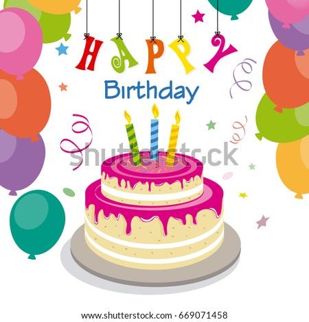 happy birthday invitation sweet cake stock vector royalty free