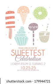 Happy Birthday Invitation with Sweets in Vector