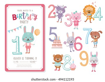 Birthday party invitation stock images royalty free images happy birthday invitation template birthday anniversary numbers set with cute animals rabbit cow filmwisefo Image collections
