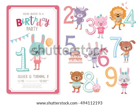 Happy Birthday Invitation Template Anniversary Numbers Set With Cute Animals Rabbit Cow