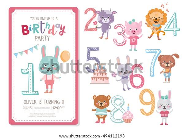 Happy Birthday Invitation Template Anniversary Stock