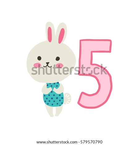 Happy Birthday Invitation Template For One Year Old With Hare Vector Illustration
