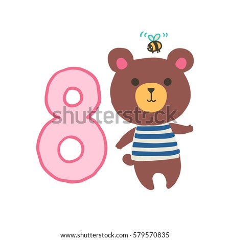 Happy Birthday Invitation Template For One Year Old With Bear Vector Illustration