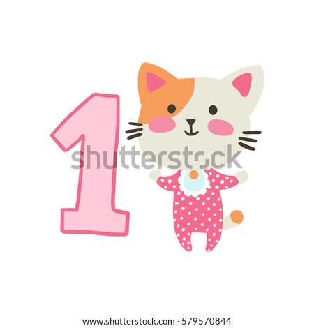 Happy birthday invitation template one year stock vector royalty happy birthday invitation template for one year old with cat vector illustration filmwisefo