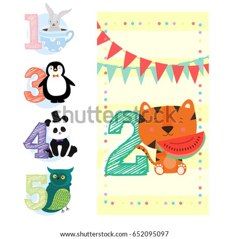 Happy Birthday Invitation Template For Two Years With Little Tiger