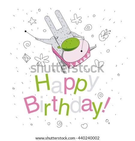 Happy Birthday Invitation Template Vector Cute Stock Vector Royalty