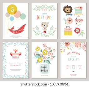 Happy birthday invitations and greeting cards templates. Vector illustration.