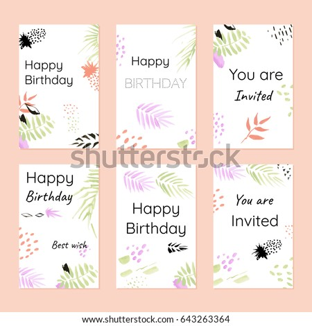 Happy Birthday And Invitations Postcards Template In Hand Drawn Style Modern Concept For