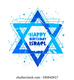 Happy Birthday Israel. Independence Day. Lettering. Vector illustration on white background. Star of David. Great holiday hand-drawn gift card.