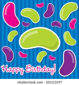 Happy Birthday jelly bean sticker card in vector format.