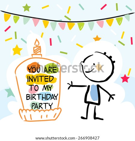 Happy Birthday Kids Greeting Card Party Stock Vector Royalty Free