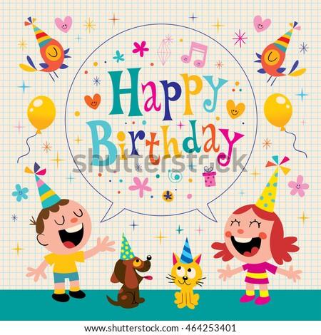 Happy Birthday Kids Greeting Card Design Stock Vektorgrafik