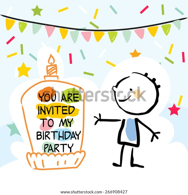 Wondrous Happy Birthday Kids Greeting Card Party Stock Vector Royalty Free Funny Birthday Cards Online Fluifree Goldxyz
