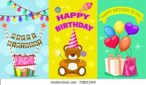 Happy birthday kids postcard set. Holiday congratulation, greeting cards with birthday cake, teddy bear toy, garland and air balloons. Children party invitation, event celebration vector illustration