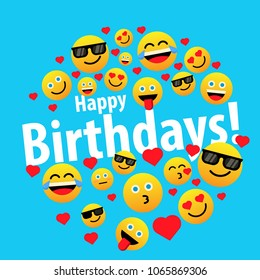 happy birthday, label or sign for greeting card or poster