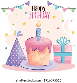happy birthday lettering with cake and gift acuarela style vector illustration design