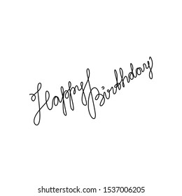 Happy Birthday lettering,  continuous line drawing, banner, poster, flyers, greeting cards, hand lettering, emblem or logo design, one single line on white background, isolated vector illustration.