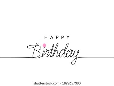 Happy Birthday lettering, continuous line drawing, banner, poster, flyers, greeting cards, hand lettering, emblem or logo design, one single line on white background, isolated on white background.