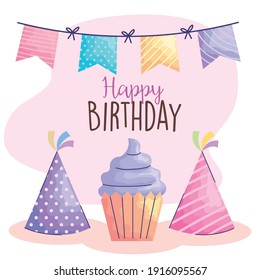 happy birthday lettering with cupcake and hats acuarela style vector illustration design
