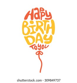 Happy birthday lettering. Holiday text and decorations. Vector element isolated on white.