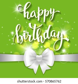 Happy birthday  lettering and ribbon for invitation and greeting card, prints and posters. Hand drawn inscription, calligraphic design.