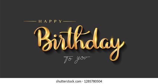 Happy Birthday lettering text banner, gold color. elegant design, Vector illustration.