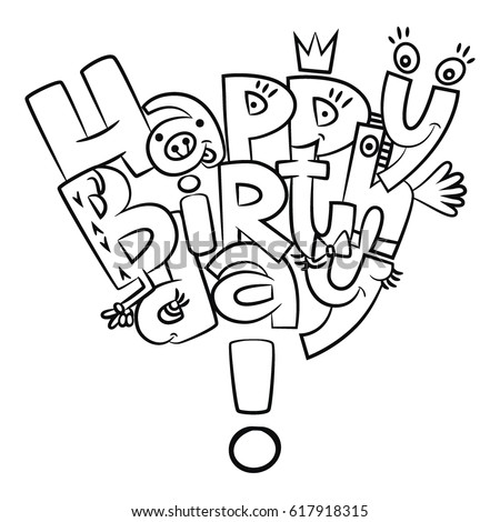 Happy Birthday Letters Coloring Vector Graphics Stock ...