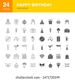 Happy Birthday Line Web Glyph Icons. Vector Illustration of Party Outline and Solid Symbols.