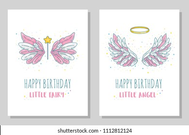 Happy birthday little fairy and angel card templates. Wide spread wings with golden halo and magic wand. Contour drawing in modern line style with volume. Vector illustration isolated on white.