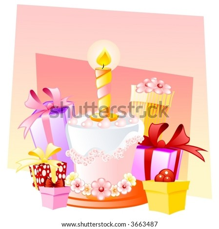 happy birthday little girl stock vector royalty free 3663487