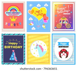 Happy Birthday little princess, collection of cards with balloons and clouds with smile, sun and birds, headlines isolated on vector illustration