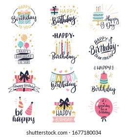 Happy birthday logo badge. Greeting lettering, cake, balloons and candle birthday greeting card decoration design vector illustration icons set. Greeting celebrate label, birthday celebration logo