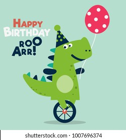 Happy birthday - lovely vector card with funny dinosaur. Ideal for cards, invitations, party, banners, kindergarten, preschool and children room decoration
