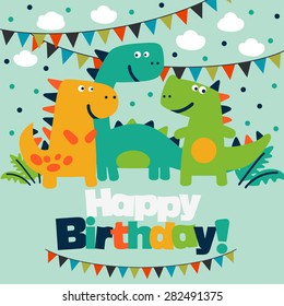 Happy birthday - lovely vector card with funny dinosaurs.