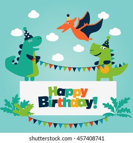 Happy birthday boy images stock photos vectors shutterstock happy birthday lovely vector card with funny dinosaurs ideal for cards logo m4hsunfo
