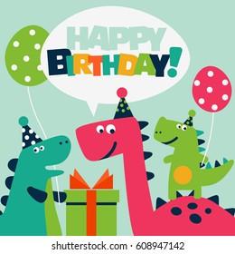Handmade Happy Birthday Card for Kids Cute Dinosaur Birthday Card for Boy