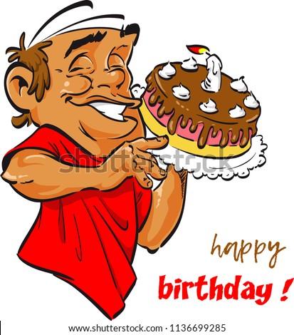 Happy Birthday Man Throwing Cake Image Vectorielle De Stock Libre